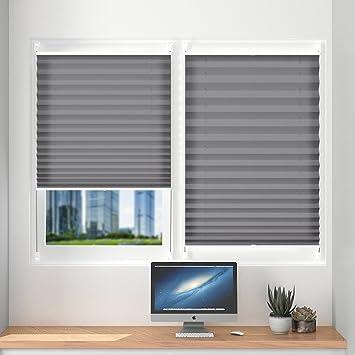 Plissee klemmfix ohne Bohren verdunklung 35 x 100cm Grau Seitenzugrollo  Faltrollo für Sonnenschutz, Plissee Jalousie Klemmfix Rollo für Fenster und  ...