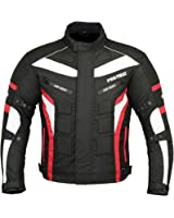 Waterproof Motorbike Gears Motorcycle Jacket in Cordura Fabric CE Approved Armour - Packs Design (Black & Red)