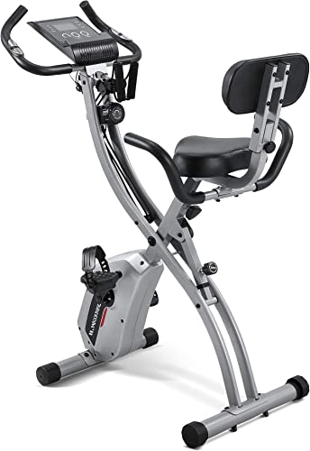 Maxkare Upright Folding Exercise Bike Stationary Recumbent Magnetic Indoor Cycling Bike