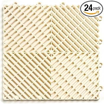 White 12 Pack Durable Interlocking Modular Garage Flooring Tile RaceDeck CircleTrac