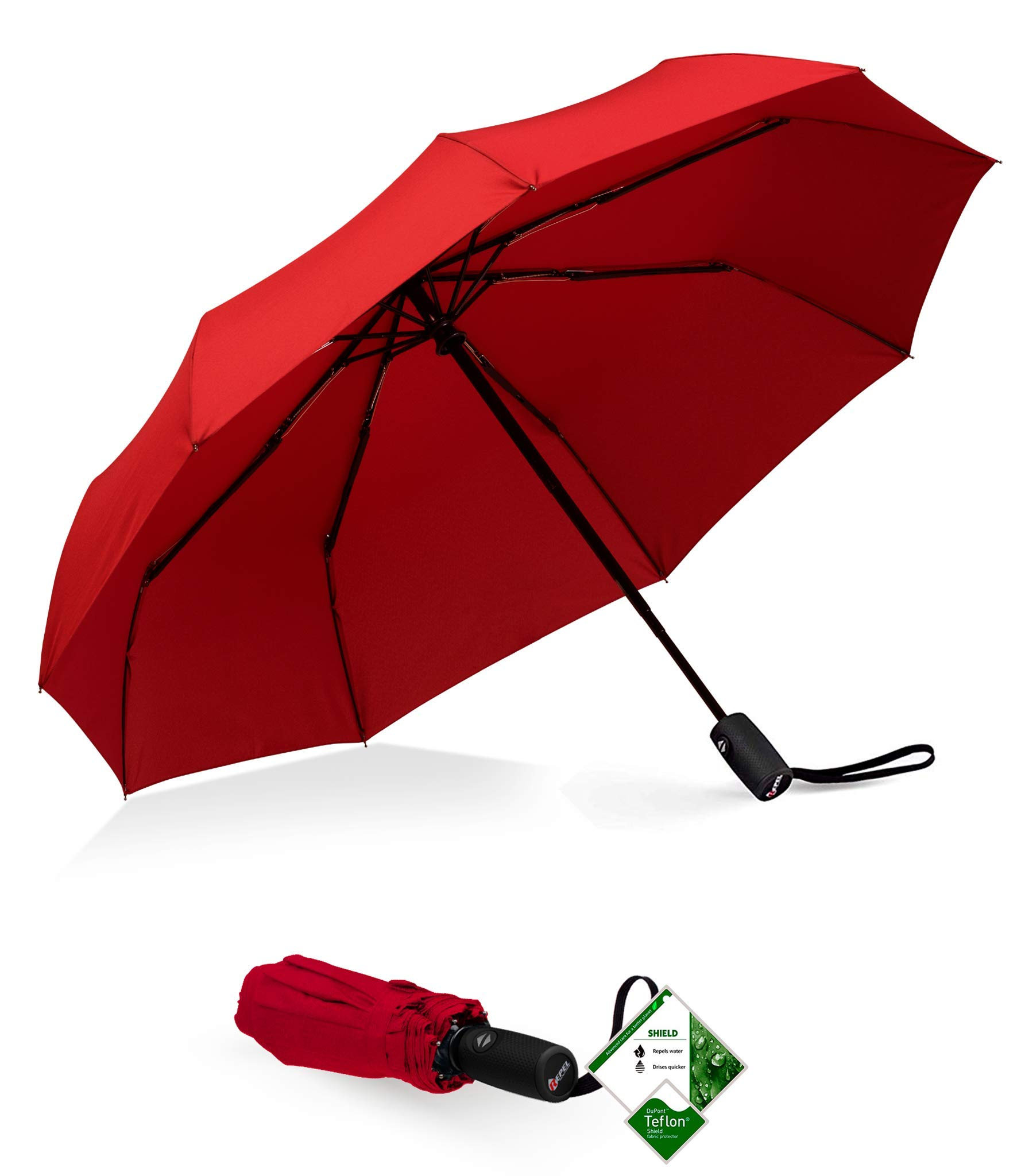Repel Windproof Travel Umbrella with Teflon Coating (Red) by Repel Umbrella