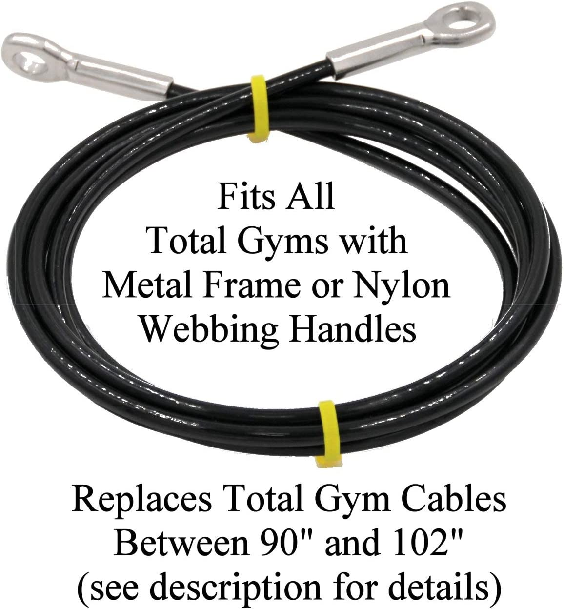 Made in USA Extremely Long Life Cable Lasts 5-10 Times Longer Than Other Cables ONLY Fits All Total Gyms with Metal Frame or Nylon Webb Handles. Read Product Description About Length