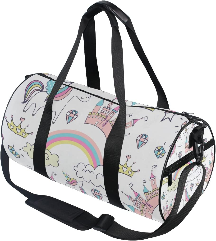 WIHVE Gym Duffel Bag Blue Unicorn Happy Birthday Colorful Sports Lightweight Canvas Travel Luggage Bag