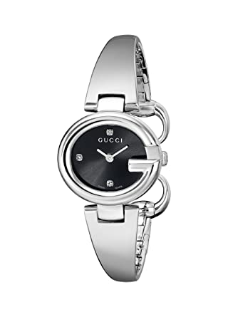 1822773c164 Amazon.com  Gucci Guccissima Diamond-Accented Stainless Steel Bangle  Women s Watch(Model YA134505)  Watches