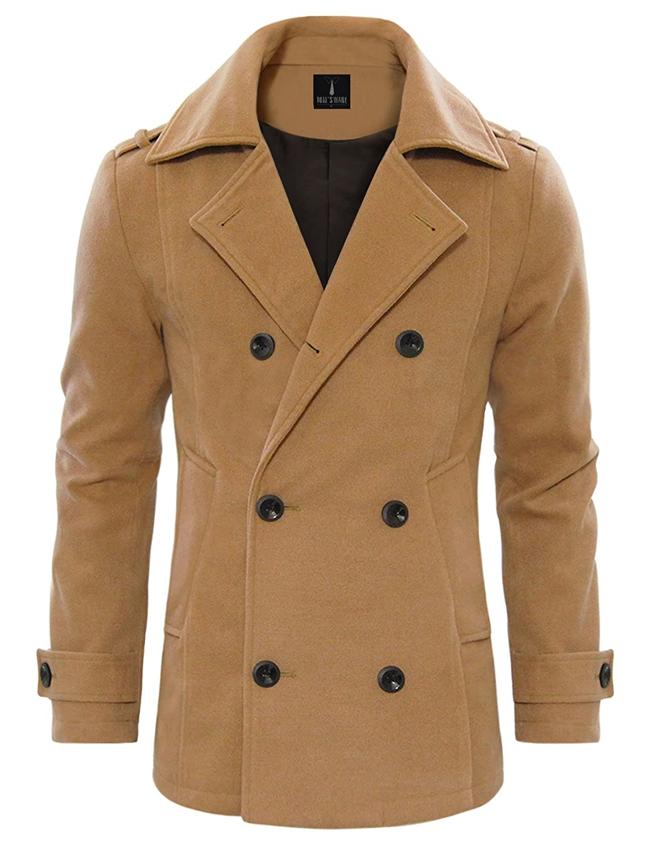 Match Mens Wool Classic Pea Coat Winter Coat at Amazon Men's ...
