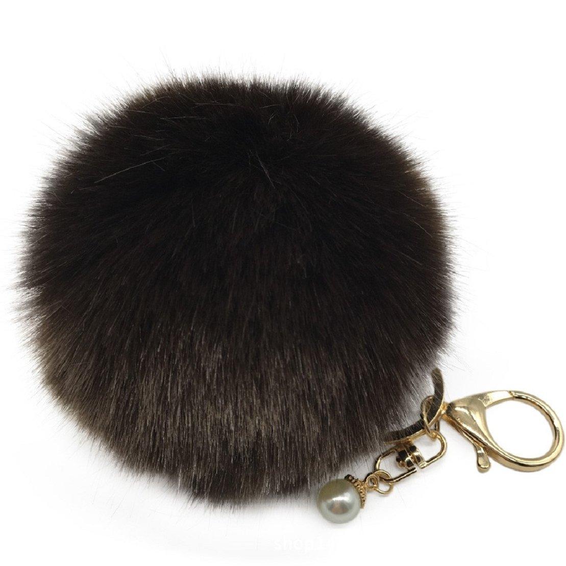Amiley Fluffy Faux Rabbit Fur Ball Charm Pom Pom Car Keychain Handbag Key Ring (Coffee)
