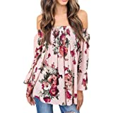 Bovake Womens Solid Long Sleeve Off Shoulder Blouse Plus Size, Ladies Casual Fashion Floral Print Tops Shirt Blouse