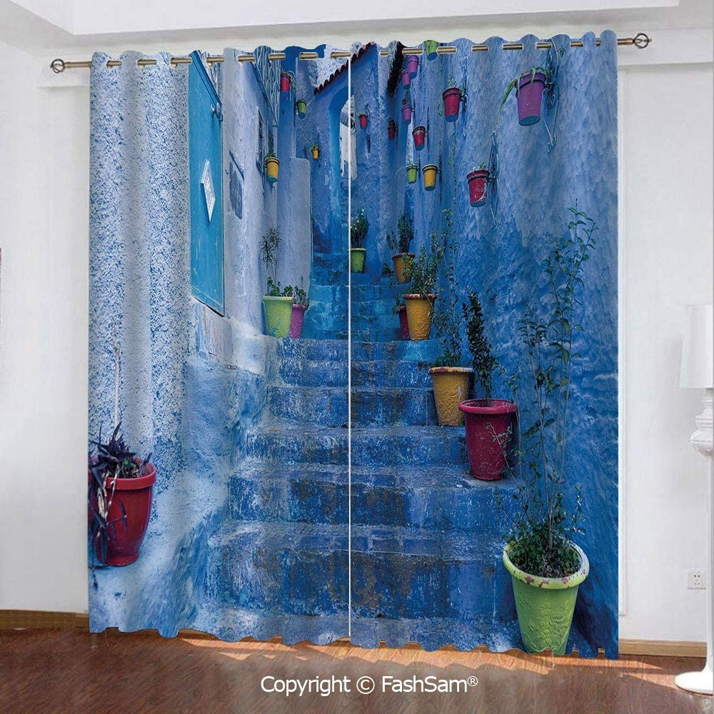"""FashSam Blackout Curtains Set Room Darkening Drapes Street with Colorful Flower Pots in City of Chefchaouen in Morocco Travel Village Decorative Window Treatment Pair for Bedroom(84""""X84"""")"""