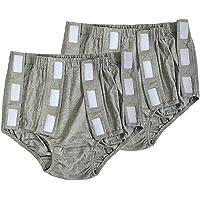 Fityle 2pcs Snap-on Ropa Interior Pantalons de Pañal para Mujeres Adultos Reutilizables Protector Contra Fugas para Ancianos Gris, XXL
