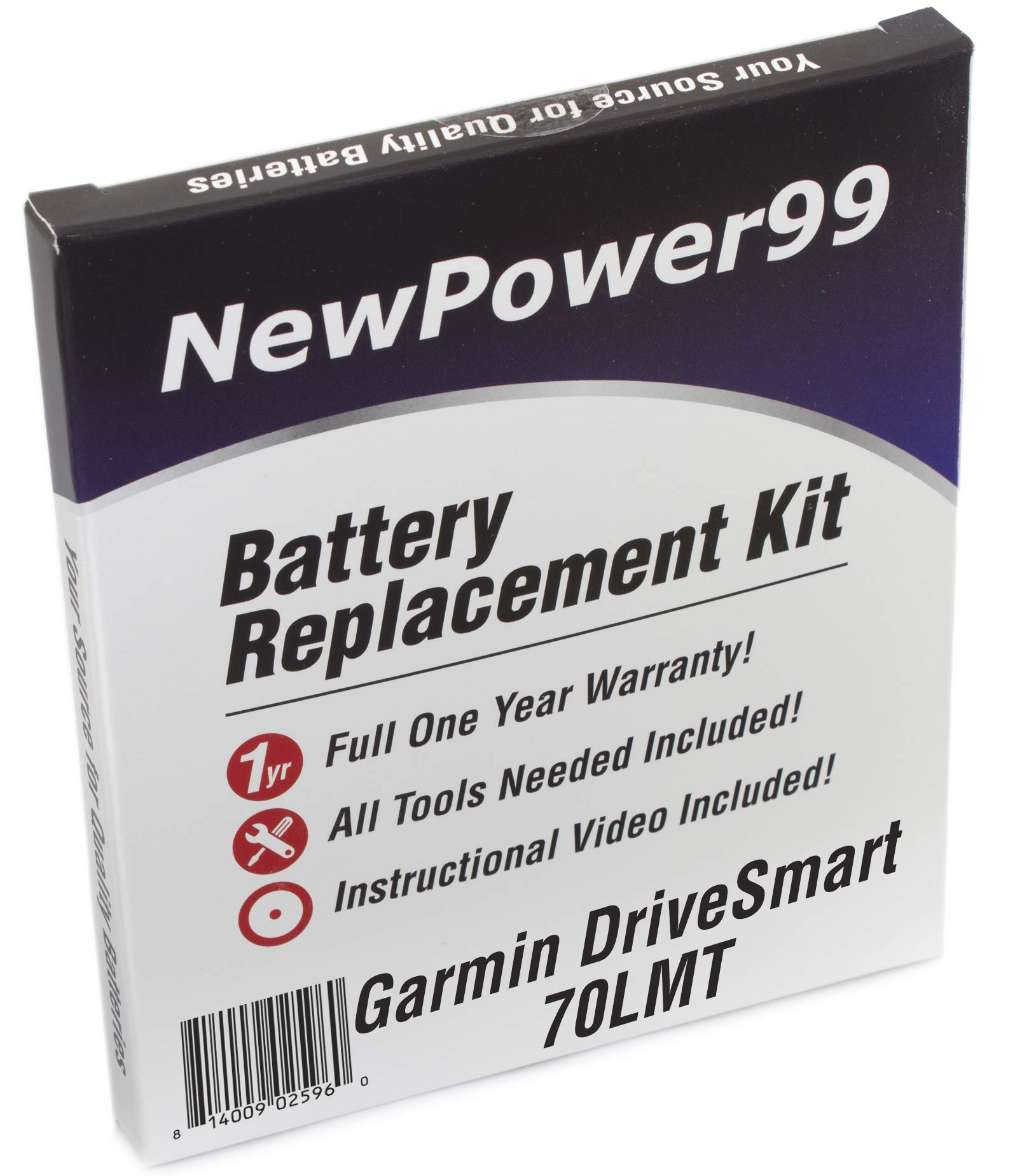 Battery Replacement Kit for Garmin DriveSmart 70LMT with Installation Video, Tools, and Extended Life Battery.