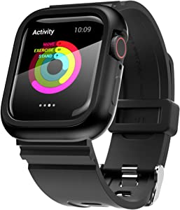 PZOZ Watch Band Case with Screen Protector Compatible for Apple Watch Series SE /4 /5 /6 44mm, Full Coverage Silicone Strap Bumper Defense Cover Edge Accessories for iWatch Women Men (Black)