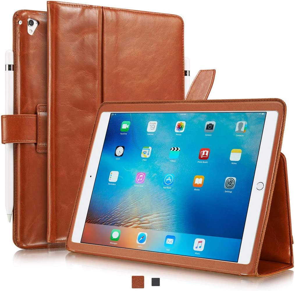 """KAVAJ Case Leather Cover London Works with Apple iPad 2020/2019 (8&7th Gen.) 10.2"""" Cognac-Brown Genuine Cowhide Leather with Pencil Holder Supports Apple Pencil Slim Fit Smart Folio"""