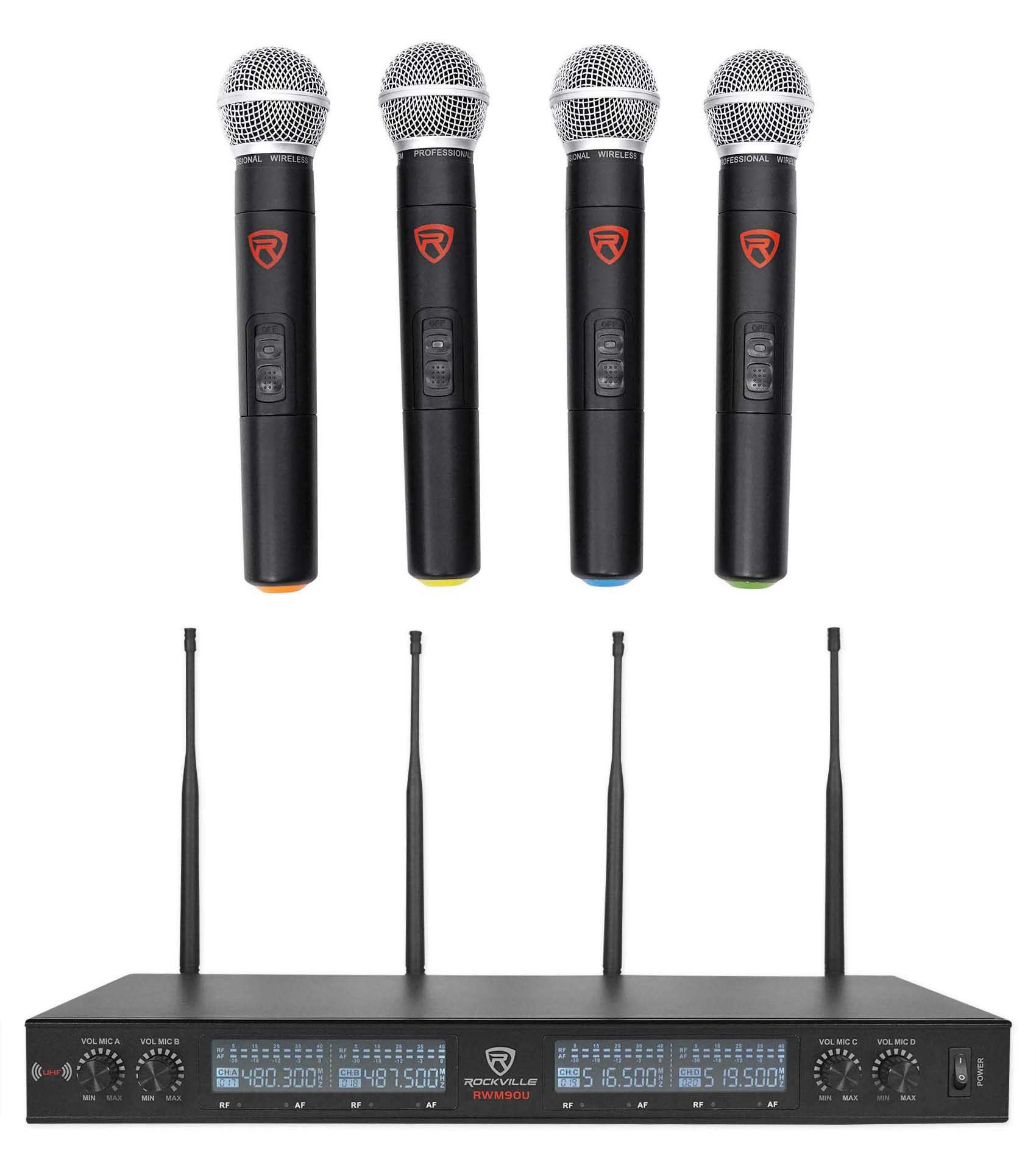 Rockville Quad UHF Handheld Wireless Microphone System w/LCD+Metal Casing rwm90u by Rockville