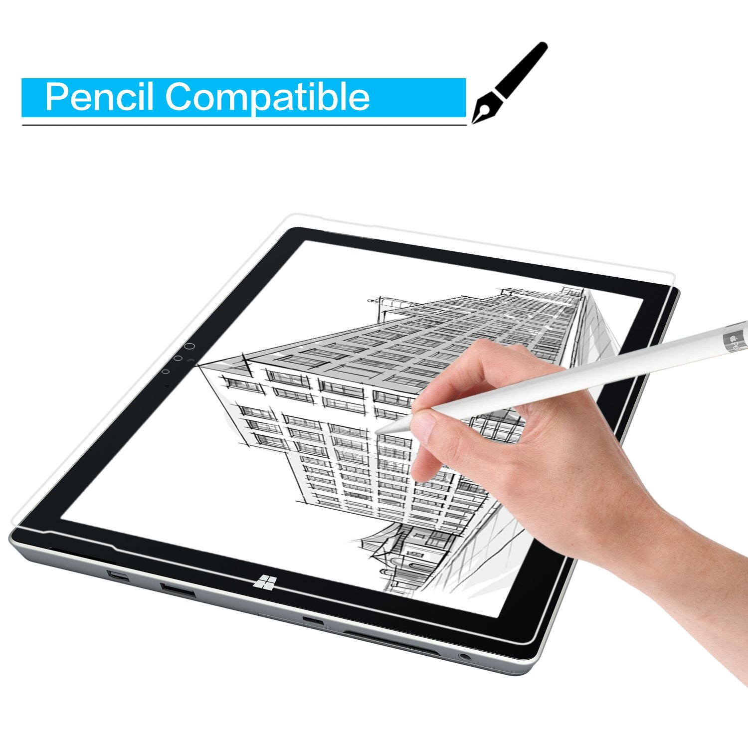 Amazon microsoft surface 3 screen protector 108 inch glass screen protector with 9h hardness 25d round edge crystal clear easy bubble free installation scratch resist computers accessories gamestrikefo Image collections