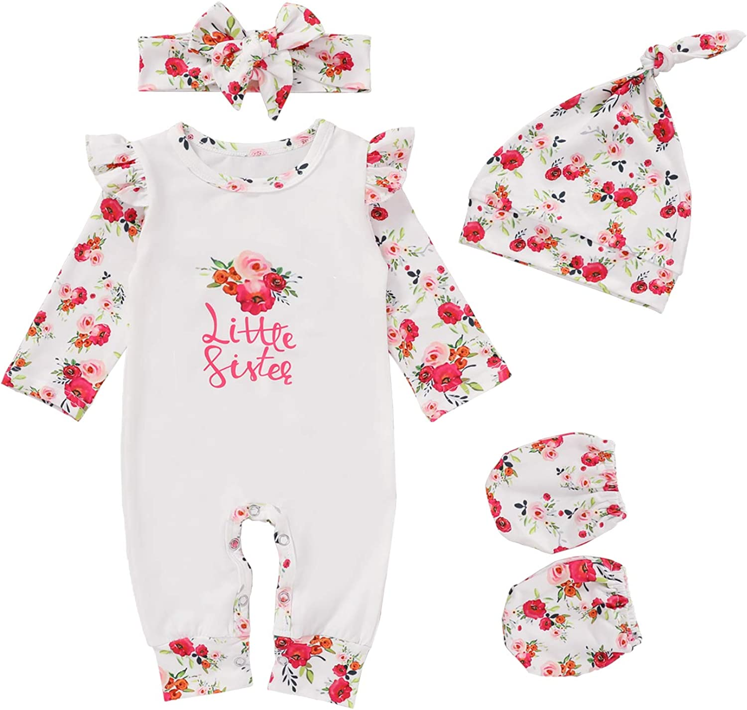 Baby Girl Little Sister Clothes Long Sleeve Romper Newborn Floral Print Overall Jumpsuit 5 Pieces Coming Home Outfit