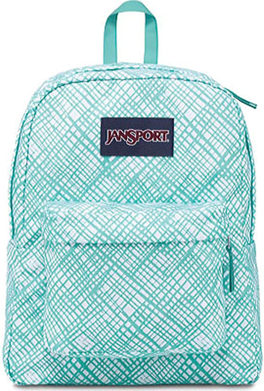 JanSport Superbreak Backpack Aqua Dash Jagged Plaid