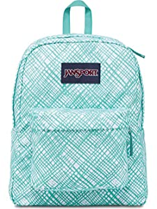 JanSport Superbreak Backpack (Aqua Dash Jagged Plaid)