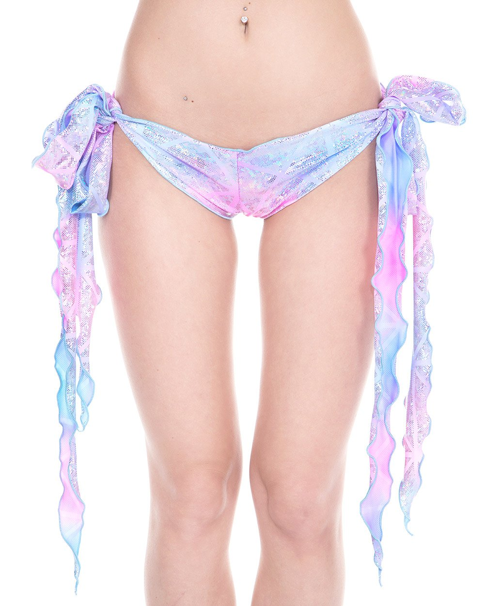 iHeartRaves Disco Party Ribbon Tie Rave Booty Shorts (Cotton Kandi), One size fits most