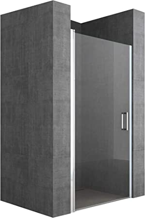 doporro Mampara de ducha diseño Teramo24 90x195cm puerta de vidrio transparente con mecanismo de elevación y descenso: Amazon.es: Bricolaje y herramientas