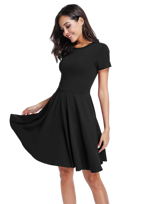 c6291c7fd Black Midi Dress With Short Sleeves - raveitsafe
