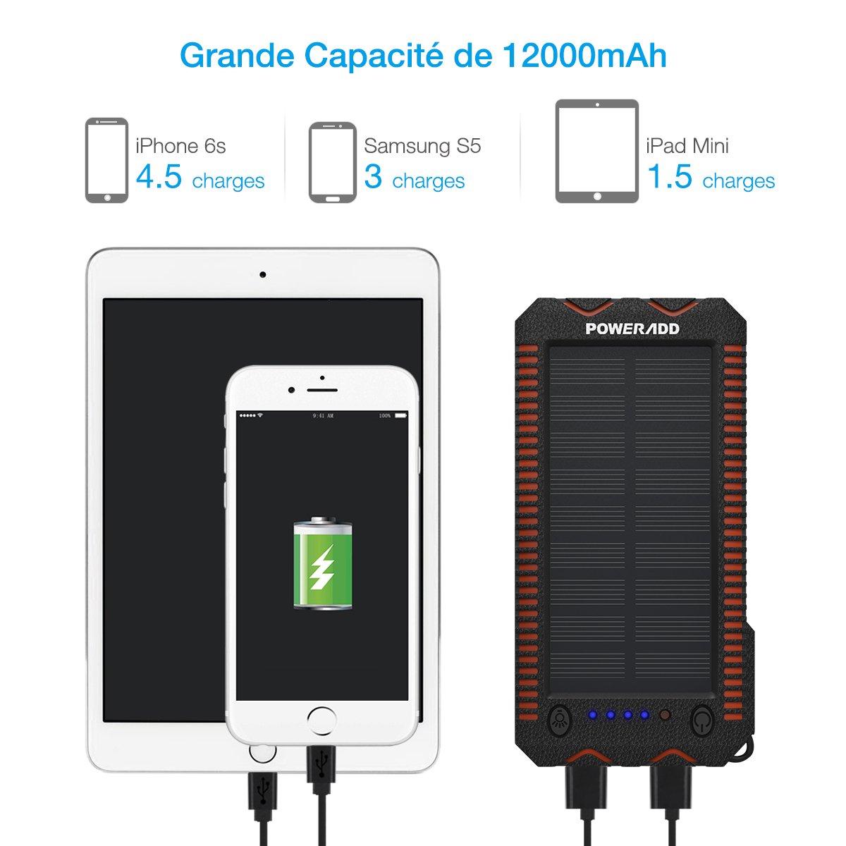 Poweradd Apollo 2 Batterie Externe Solaire 12000mah avec Deux Lumière LED Dual USB Sortie Briquet Intégré pour iPhone, iPad, Smartphone, Tablette etc