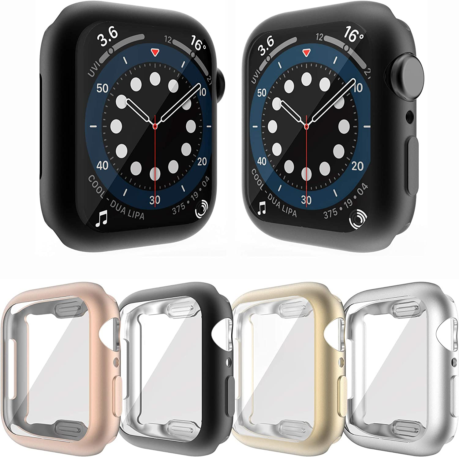 YUVIKE Case Compatible with Apple Watch SE Series 6 5 4 44mm Screen Protector, 4 Packs All Around Cover Flexible TPU Matte Bumper Frame (Black+Silver+Gold+Rose Gold, 44mm)