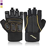 Trideer Double Protection Weight Lifting Gloves, Padded Gym Gloves for Extra Grip, Breathable & Ultralight Workout Gloves for Men & Women