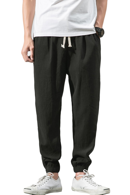 "sandbank Men's Drawstring Beach Pant Summer Cotton Linen Loose Yoga Jogger Pants (Black, Waistline:30""-32"" US S =Asian Tag 3XL)"
