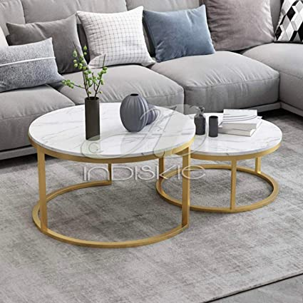 Indiskie Living Room Nesting Coffee Table Gold Finish Marble Top Set Of Two Metal Tables Amazon In Home Kitchen