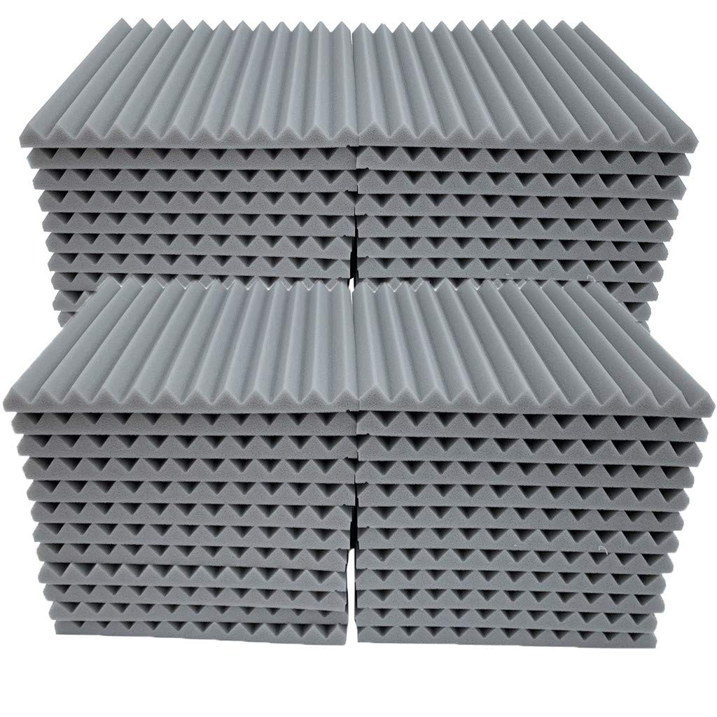 Soundproof Foam, 48Pcs Acoustic Panels Studio Foam Wedges Fireproof Soundproof Padding Wall Panels for Studio and KTV etc (Gray)