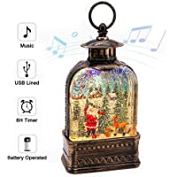 Snow Globe Lantern with Music and Timer, Santa Claus Snow Globe Water Glittering Singing Lighted Lantern Lamp for Christmas Home Decor