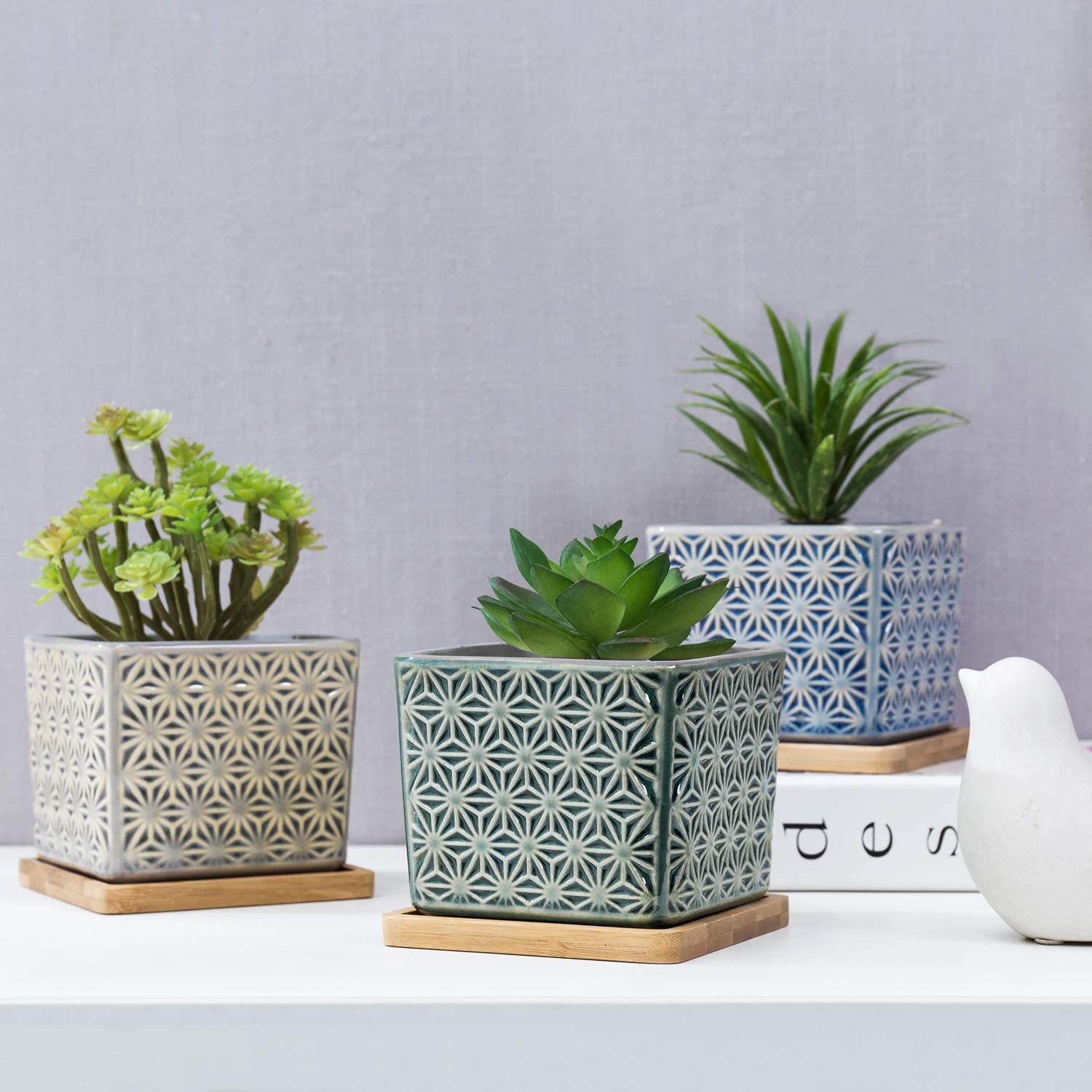 MyGift Multicolored Geometric Design Ceramic Square Planters with Bamboo Trays, Set of 3