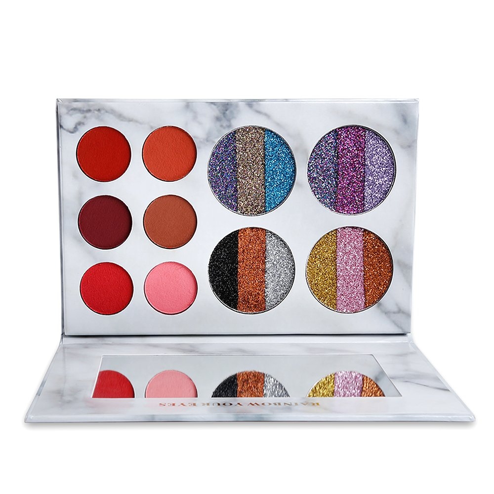 DE'LANCI Eyeshadows Palette Makeup,4 Creamy Mixed Glitter and 6 Matte Shades Insanely Pigmented Cosmetic Eye Shadows Set for Party and Daily Use by DE'LANCI (Image #2)