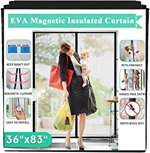 Insulated Door Curtain, IKSTAR EVA Magnetic Door for Exterior/Interior/Kitchen Doors, Keep Draft Air Out, Pets/Kids Walk Through Free, with Full Frame Loop&Hook, Hands Free Closure Size 36