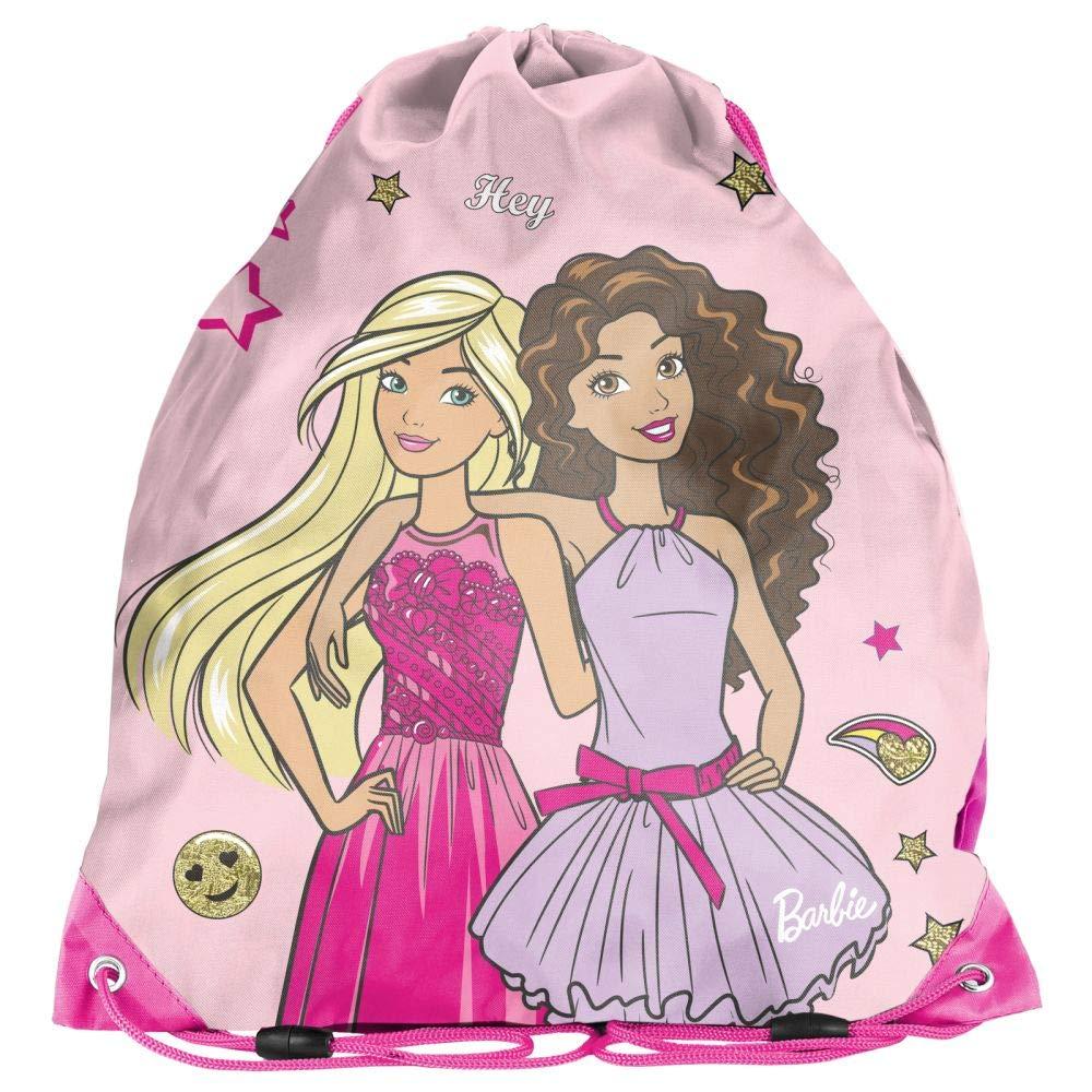Sac de Gym pour Enfant Motif Barbie Rose 36 x 32 cm