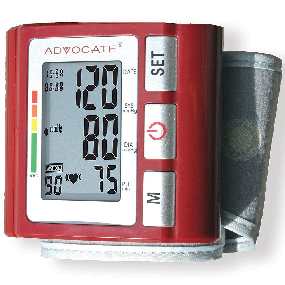 (Set) Advocate Wrist Blood Pressure w/ Convenient LCD Screen Monitor + AAAs by Johnson Smith Co.