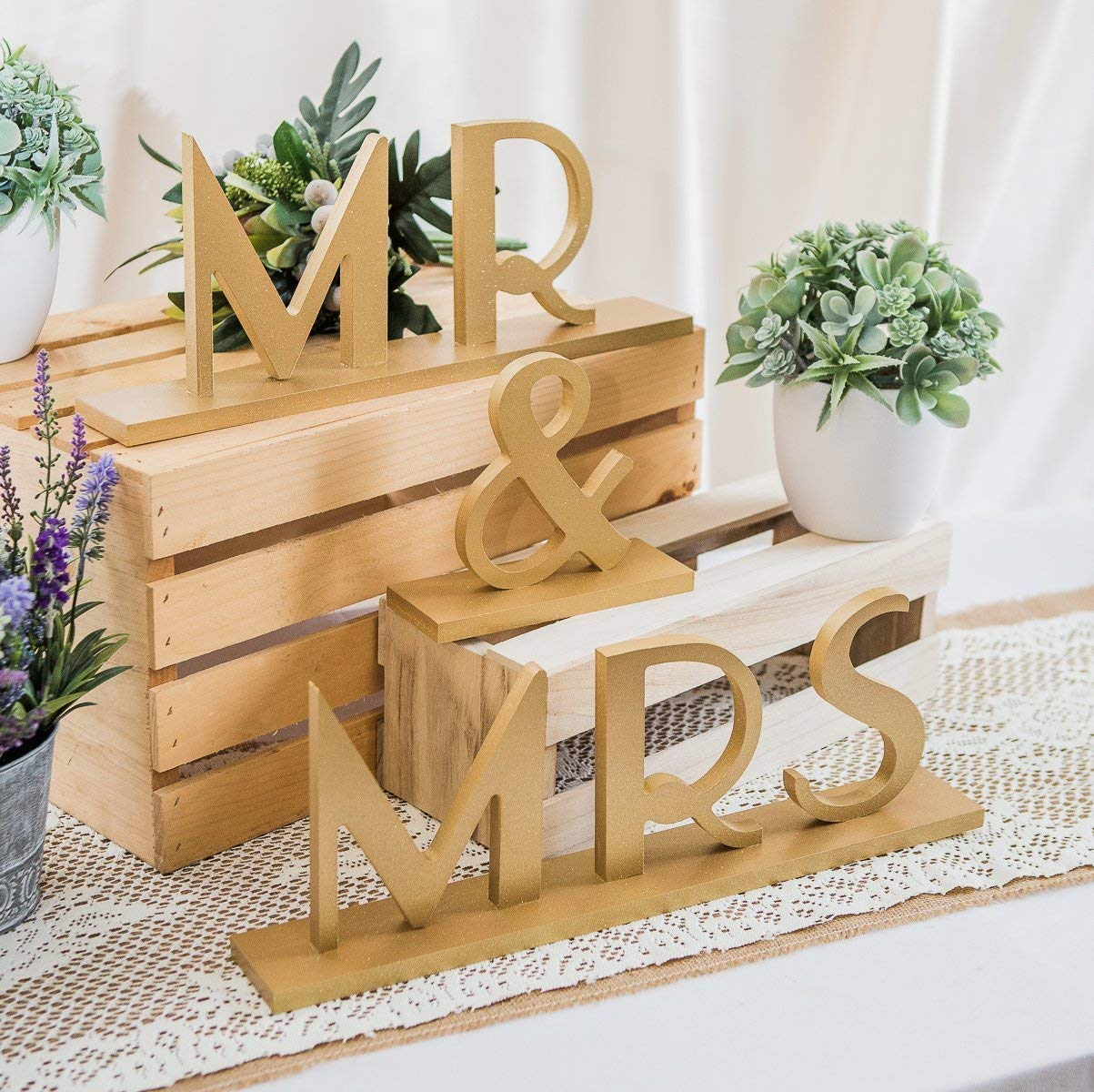 Mr & Mrs Wedding Signs for Table in Gatsby Style for 1920s Flapper Style Sweetheart Table Decor - Great Gatsby Wedding