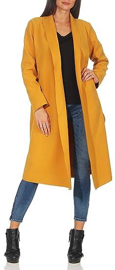 Malito Larga Capote Cascada de Corte Abrigo Cárdigan 3050 Mujer One Size (Amarillo)