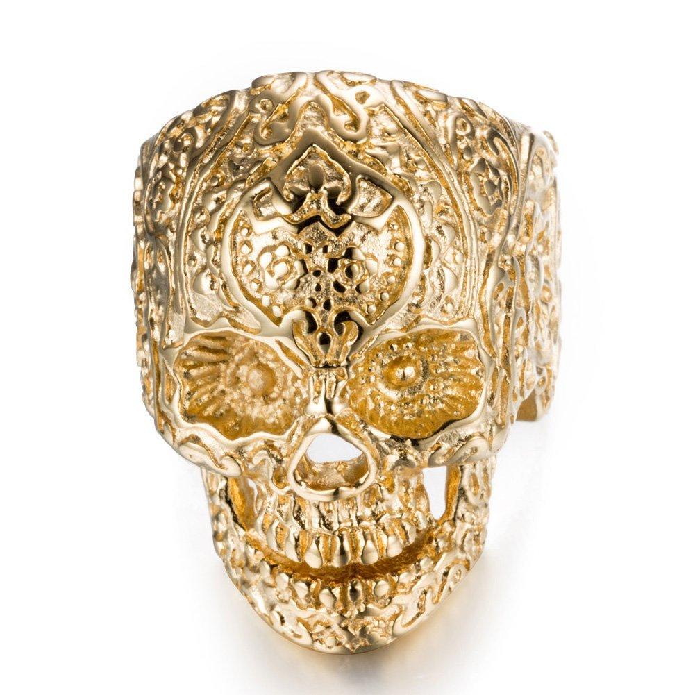 Stainless Steel Skull Head Rings for Men Women Vintage Gothic Rings chuangchao