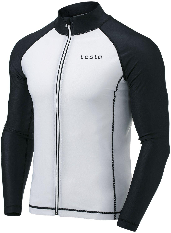 TSLA Mens UPF 50 Zip Front Long Sleeve Top Rashguard Swimsuit MSZ03//MSZ13 Tesla Gears