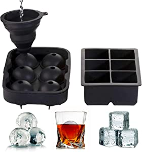 Ice Cube Trays (Set of 2) With Silicone Funnel, Sphere whiskey Ice Ball Maker With Lid & Large Square Ice Cube Molds For Cocktail, Bourbon & Scotch. BPA free & Reusable