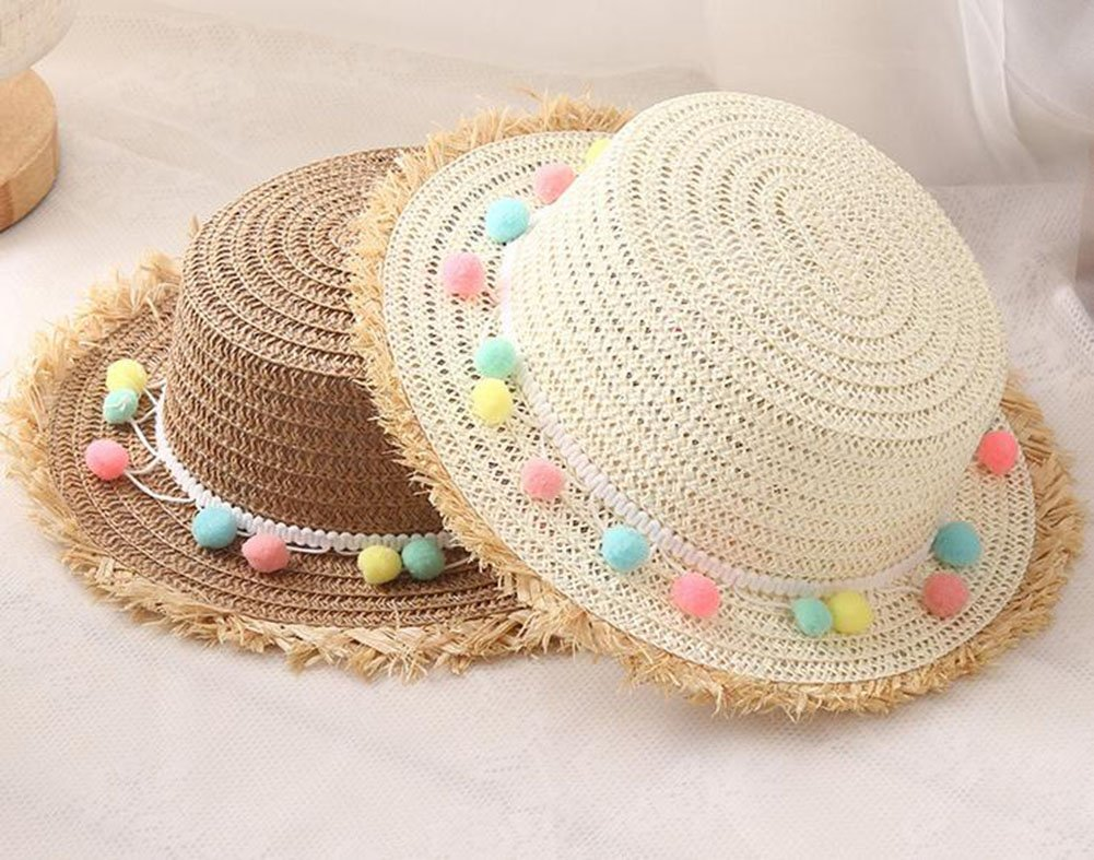 Outflower Sombrero de Paja de Bola de Felpa Colorida Sombrero Protector Solar Sombrero de Playa Sombrero de los Ni/ños Plana Sombrero de Copa