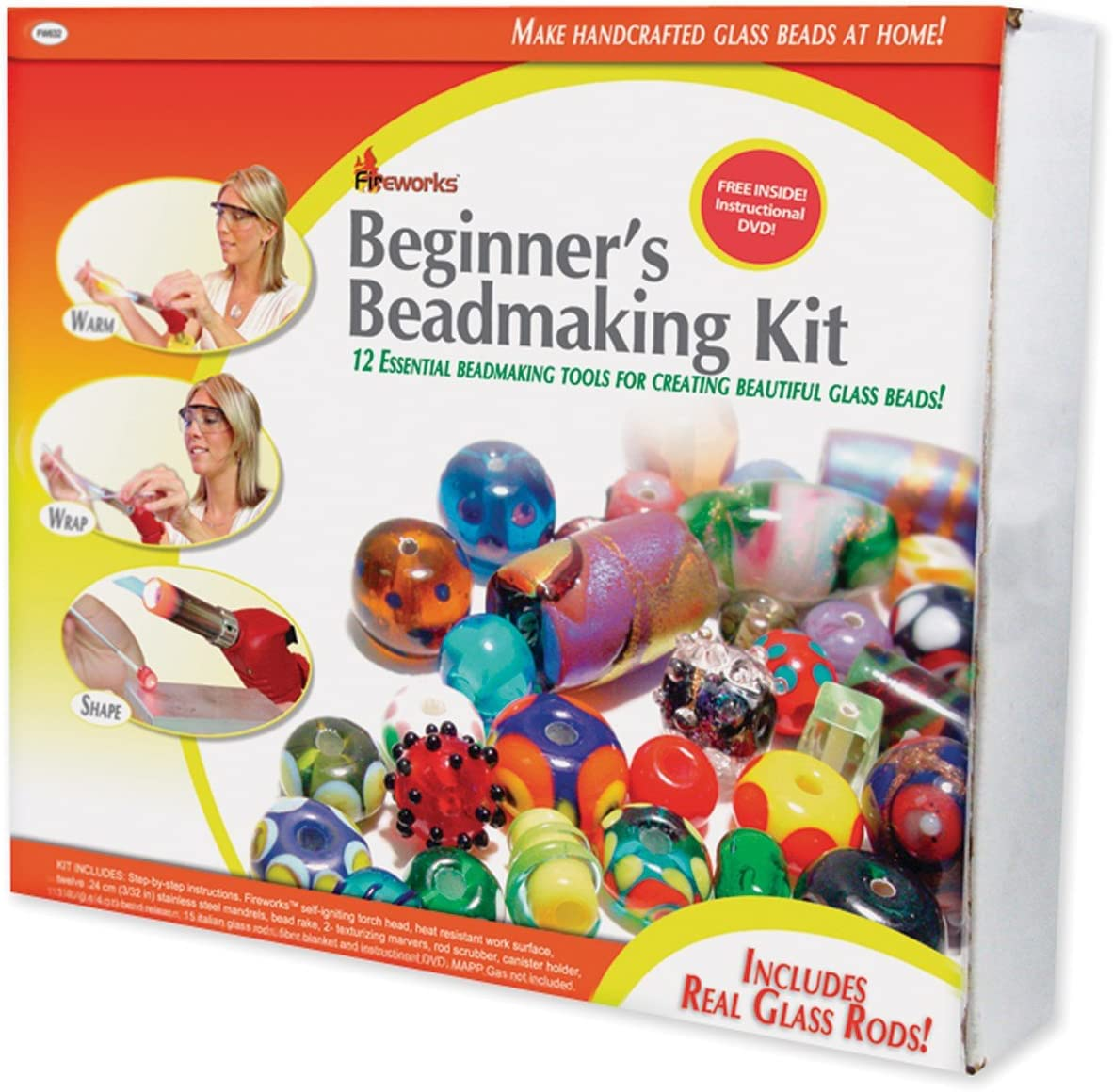Fireworks Beginner's Bead Kit Includes Tools, Supplies, Glass Rods and Instructional DVD