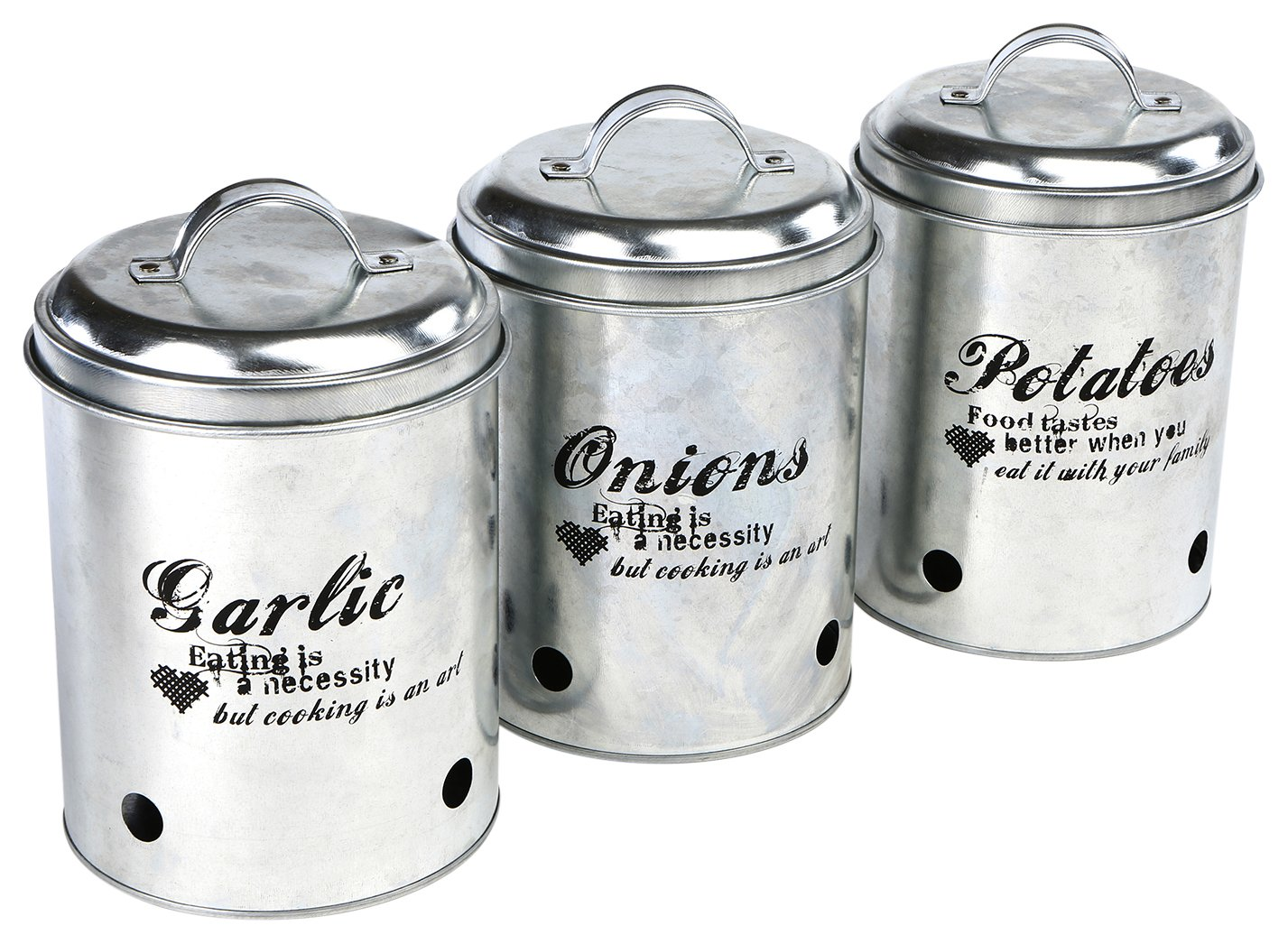 Mind Reader 3 Piece Garlic, Onion, Potatoes Metal Canister Set, Silver by Mind Reader