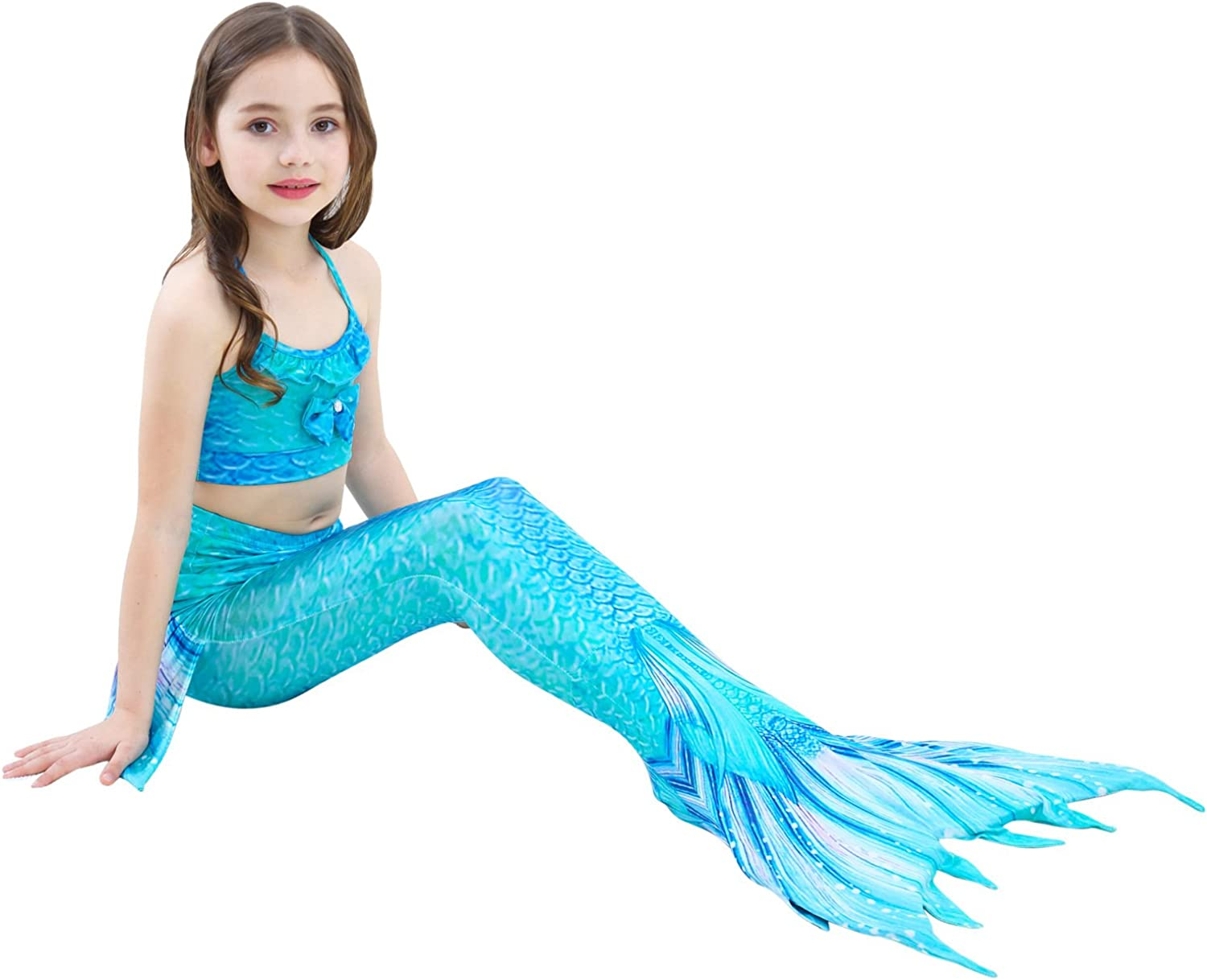 AUIE SAOSA Girl Mermaid Tail for Swimming Swimwear Cover up and Garlands 4pcs