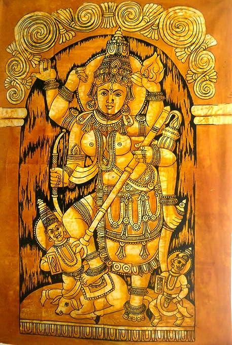 Amazon.com: Goddess Durga Killing Asuras Demons Batik Wall Hanging ...