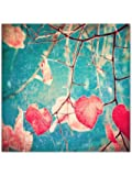 999Store Unframed Printed Autumn Pink Heart Leafs on Blue Canvas Painting (120x120cms)
