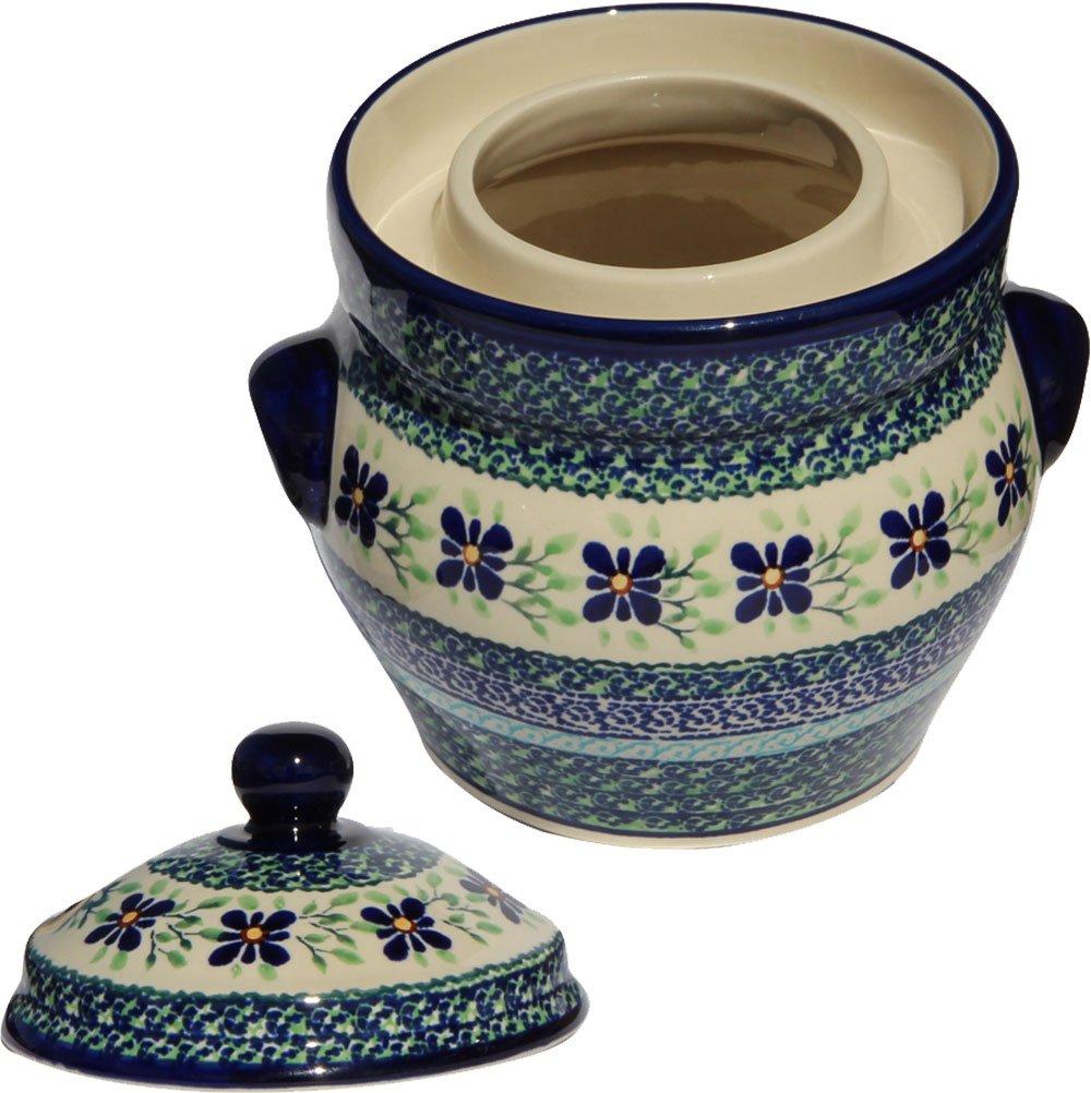 Polish Pottery Fermenting Crock Pot From Zaklady Ceramiczne Boleslawiec #1125-du121 Unkat Pattern, Height: 6'', Capacity: 7 Cups