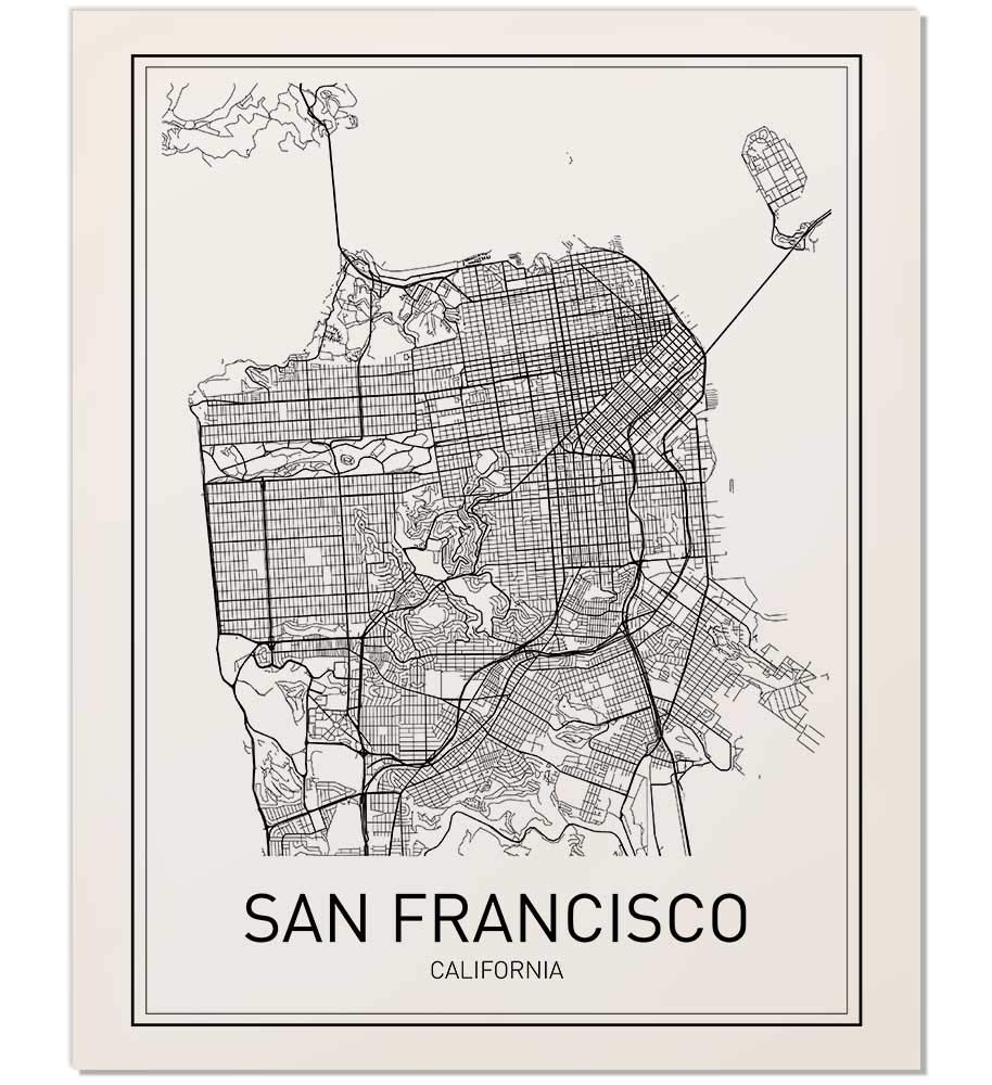 graphic about San Francisco Maps Printable identify San Francisco Map, Metropolis Map Poster, San Francisco Print, California Print, California Map, Metropolis Maps, Map Print, Map Artwork Print, Black and White, Map