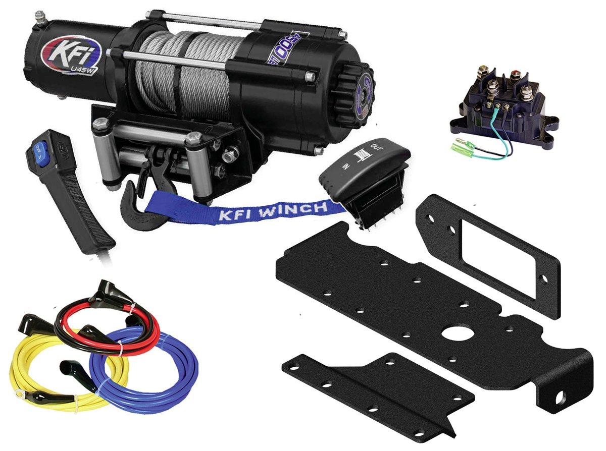 KFI Combo Kit - U45w-R2 4500lbs Stealth Winch & Mount Bracket - 2016-2018 Honda Pioneer SXS 1000, 1000-5